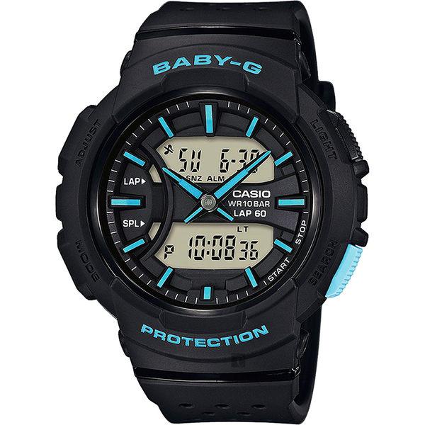 CASIO 卡西歐 Baby-G 慢跑粉彩手錶-黑x藍時標 BGA-240-1A3DR / BGA-240-1A3