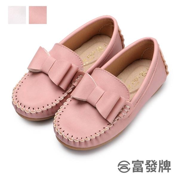 【富發牌】立體蝴蝶結兒童樂福休閒鞋-白/粉 33DX35