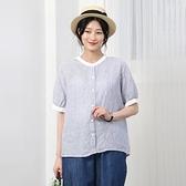 正韓 亞麻條文短袖襯衫 (9240) 預購