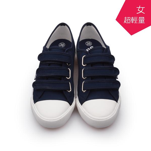 【A.MOUR 經典手工鞋】魔鬼氈輕履系列- 深藍 / 休閒鞋 / 平底鞋 / 嚴選帆布 / 柔軟透氣 /DH-6661