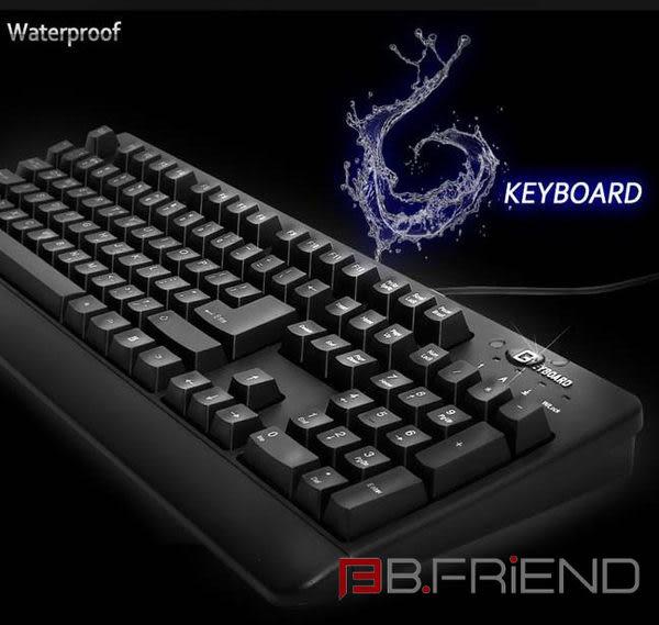 B-Friend G-keyboard GK1 USB PS2 防水 電競 有線鍵盤 (黑) 精裝版