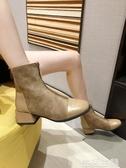 馬丁靴 方頭粗跟短靴女秋季單靴新款chic馬丁靴女中跟ins網紅瘦瘦靴 生活主義