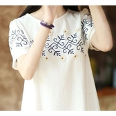 漂亮小媽咪 短袖棉麻連衣裙 【XD1765】 孕婦裝 夏裝可愛日系刺繡花朵