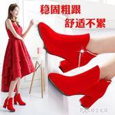 婚鞋女新款結婚鞋子紅色高跟鞋大碼婚靴中跟孕婦新娘鞋秋  探索先鋒