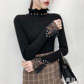 大碼針織上衣 新款純色半高領針織衫女長袖套頭毛衣修身蕾絲打底衫上衣 qf17001【小美日記】