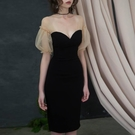 平口洋裝/一字領 赫本小黑裙2021夏季新款女裝一字肩性感生日聚會年會小禮服連身裙