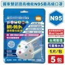 台灣精碳 N95醫用口罩 1入X5包 (國家認證 可水洗重複使用 台灣製) 專品藥局【2018537】