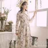 長袖洋裝 碎花雪紡連衣裙女裝秋冬季年新款森系超仙女春秋長袖裙子長裙 快速出貨
