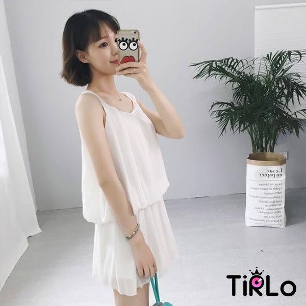 套裝-Tirlo-輕甜寬肩帶澎澎背心短褲兩件組-單一(現+追加預計5-7工作天出貨)
