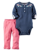 Carter's 套裝 包屁衣   深藍上衣粉紅長褲套裝 3M 12M 18M 24M