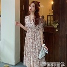 大碼洋裝 夏季新款大碼法式氣質高腰初戀雪紡裙胖mm顯瘦短袖長款復古連身裙 曼慕