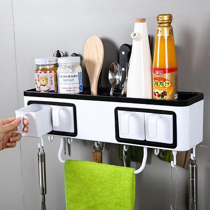【24H】廚房免打孔調味瓶盒套裝調料罐佐料鹽罐收納盒家用多功能置物架 快速出貨