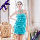 東京衣服 希臘貴族 寶石細帶繞頸層次蛋糕洋裝小禮服 藍色