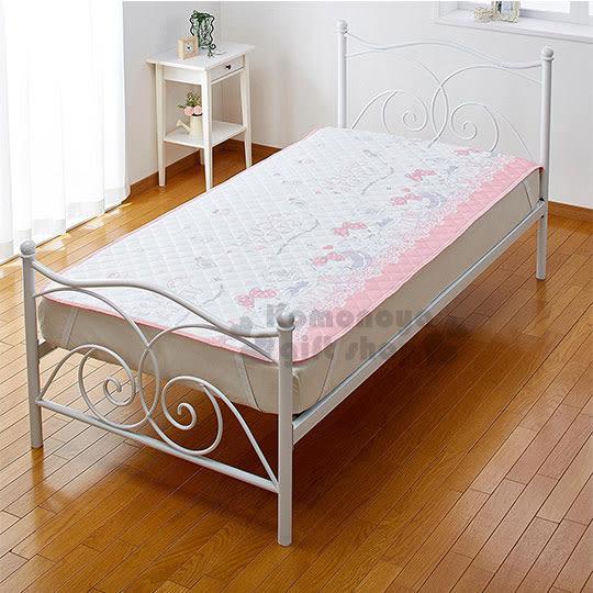 〔小禮堂〕Hello Kitty 單人涼感床墊《粉白.滿板》100x205cm.保潔墊 4582206-81935