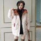 VK精品服飾 韓國風休閒連帽寬鬆拼色棉襖單品外套