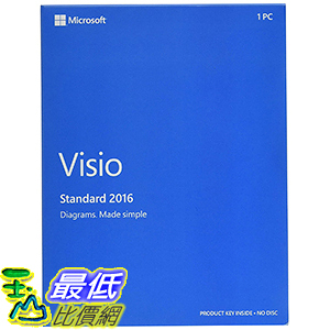 [106美國直購] 2017美國暢銷軟體 Microsoft D86-05555 Visio Standard 2016 Windows English 1 License Medialess