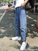 直筒牛仔褲子男士韓版潮流寬鬆復古九分褲學生男褲夏艾美時尚衣櫥