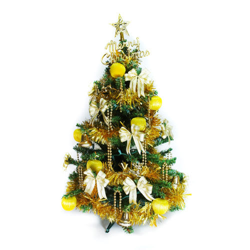 【摩達客】台灣製3尺 /3呎(90cm)特級松針葉綠聖誕樹 (+純金色系配件)(不含燈)