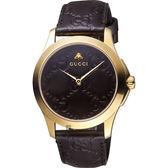 GUCCI古馳 G-Timeless 蜜峰雙G手錶-咖啡x金框/38mm YA1264035