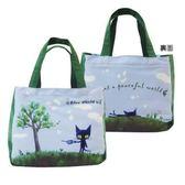 BLUE WORLD ,日本藍貓與樹小提袋_Green 《生活美學》
