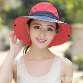 戶外遮陽帽子情侶漁夫帽女可折疊太陽帽夏季防曬帽騎車旅游 aj9988『黑色妹妹』