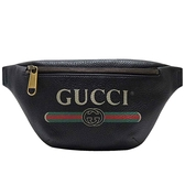 GUCCI 古馳 黑色小牛皮綠紅綠織帶腰包 胸包 Print Belt Bag 52779 【二手名牌BRAND OFF】