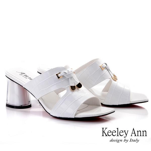 Keeley Ann我的日常生活 鱷魚紋半透視中跟拖鞋(白色) -Ann系列
