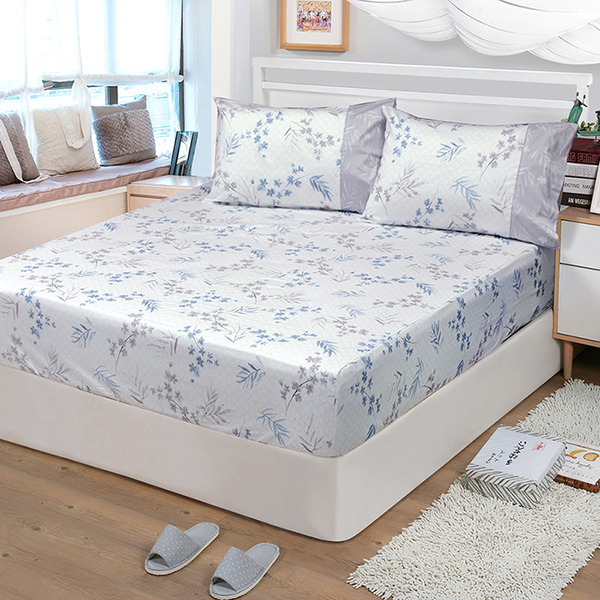 【FITNESS】精梳棉單人床包+枕套二件組-花影葉語(卡其)_TRP多利寶