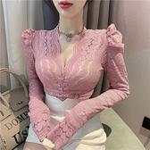 2021春季新款洋氣黑色泡泡袖長袖V領小衫上衣內搭打底蕾絲衫女潮 韓國時尚週