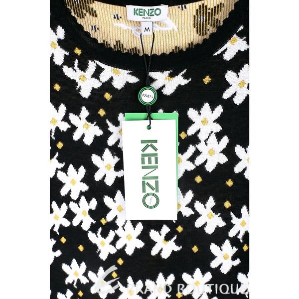 KENZO 棉質滿版花朵黑色針織洋裝 1820083-37