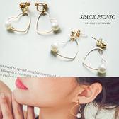 耳環 耳夾 Space Picnic|現貨.珍珠愛心耳針/耳夾【C18052006】