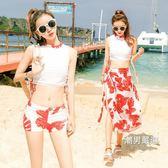 一件免運-游泳衣女三件套韓國小香風大小胸分體保守學生比基尼溫泉泳裝M-XL