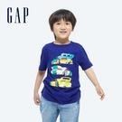 Gap男童 純棉印花短袖T恤 696636-深藍色