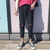 韓版修身破洞潮流直筒學生牛仔褲