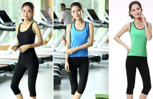 瑜伽健身服套裝跑步服套夜跑速幹T恤女運動胸罩短褲  - dixia008