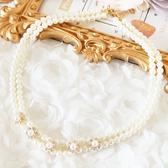 奢華珍珠水鑽花朵項鍊服飾 美之札