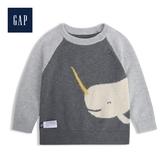 Gap男嬰兒 童趣動物織紋圓領針織衫524358-深石楠灰