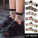 OT SHOP [現貨] 襪子 透膚絲襪 中筒襪 貓咪圖案 潮流個性 日韓系穿搭 黃/草綠/磚紅/白/米/黑 M1068