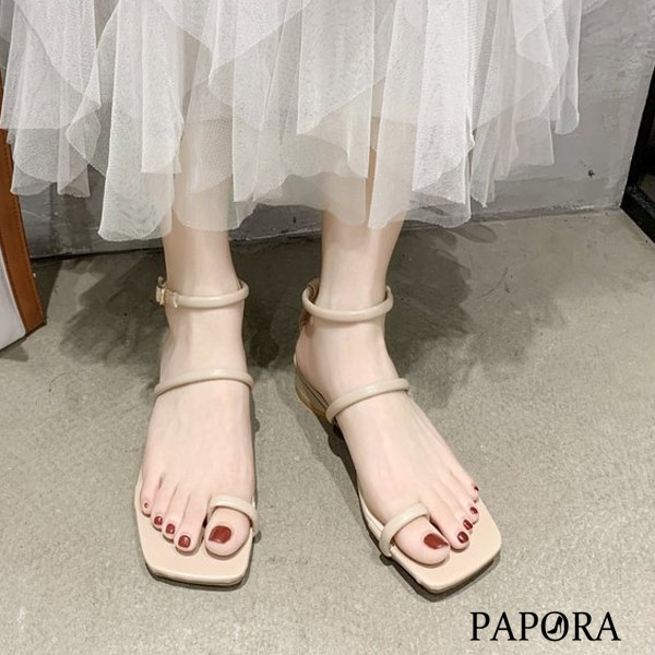PAPORA扣趾夾腳羉馬涼鞋KK6712黑色 / 卡其色