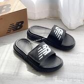 《7+1童鞋》New Balance SD1501GBK 復古海綿拖鞋 可調式魔鬼氈 9599 黑色