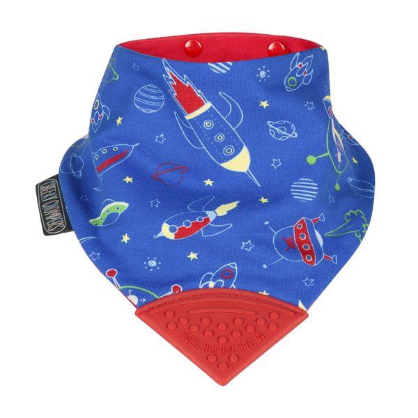 咬咬巾/ 圍兜 / 口水巾 Cheeky Chompers Necker Chew 雙面咬咬兜 - 太空火箭 CC026