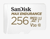 《耐寫 12萬hr》SanDisk MAX ENDURANCE microSDXC 256GB 記憶卡(附轉卡) 100MB/s C10 U3 V30【公司貨 15年保】SDSQQVR