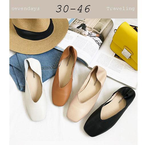 大尺碼女鞋小尺碼女鞋方頭V口真皮舒適柔軟兩穿平底鞋娃娃鞋包鞋懶人鞋半拖鞋白黑駝棕色(30-4446)