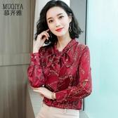 印花襯衫女2019新款顯瘦蝴蝶結心機上衣設計感職業襯衣洋氣綢緞潮