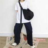帆布包 單肩尼龍帆布斜背包純色大容量旅行包運動健身電腦包學生書包男女