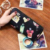 手拿包/零錢包韓版印花多卡位拉鏈錢包女可放5.5寸手機單拉錢包(黑色地帶)