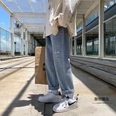 牛仔褲男直筒寬鬆秋季闊腿褲子男韓版印花百搭休閒褲【聚物優品】