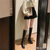 長筒靴子女2019秋季新款韓版百搭粗跟高跟鞋chic前拉鏈過膝靴   蘿莉小腳丫