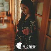 日系睡衣-暗黑開衫睡袍絲綢印花復古趴民族風寬松開衫睡衣睡裙-奇幻樂園