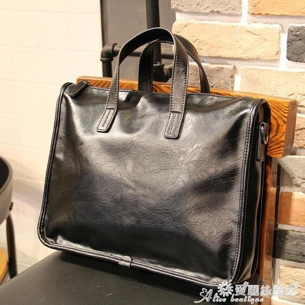 公事包 手提包男公文包休閒商務側背斜背包潮牌新款橫款皮質男士辦公包 愛麗絲